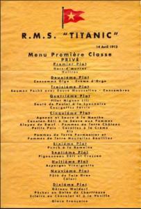Menu original titanic por escoffier